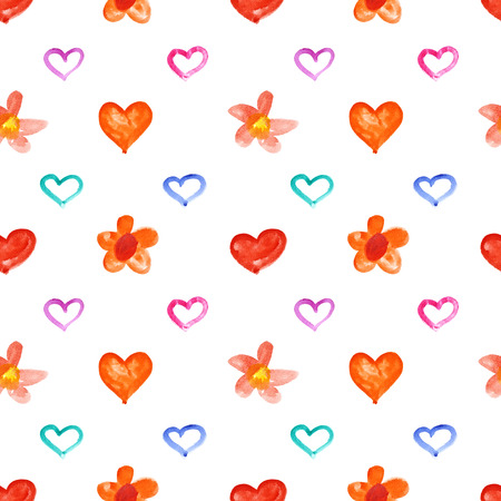 oxeye: Showy watercolor hearts and flowers - raster seamless pattern