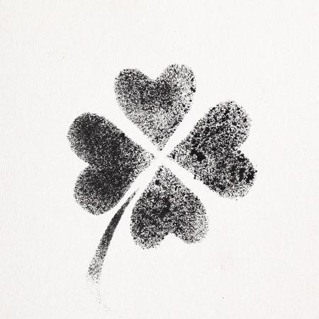 Stenciled four-leaf Irish clover - graffiti style raster illustration Stock Photo