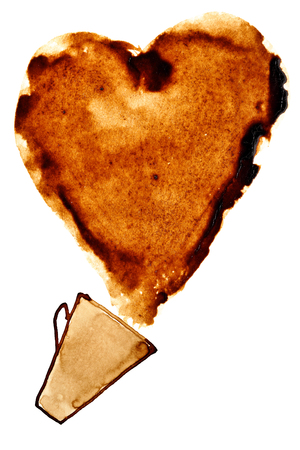 Heart of spilt coffee on a white background