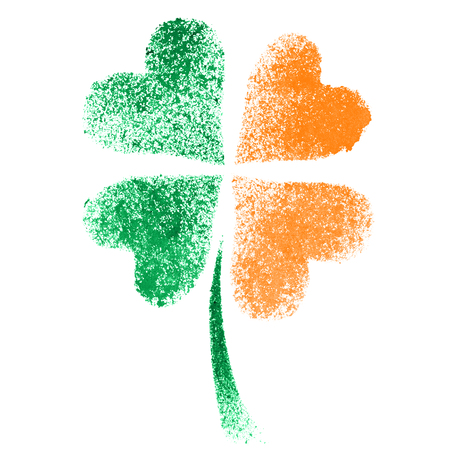 stenciled: Stenciled four leaf Irish clover with colors of the Ireland flag