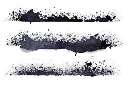 Set of grunge stripes isolated on the white background - raster illustration Stock Photo