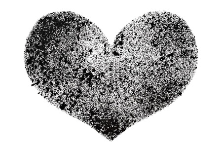 stenciled: Black stenciled heart isolated on the white background - raster illustration