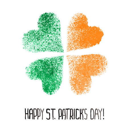 Happy St. Patricks Day - Four leaf Irish clover with colors of the Ireland flag
