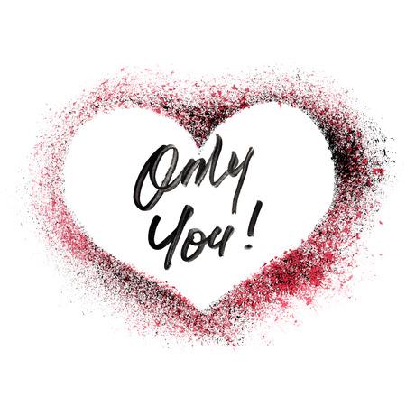garabatos: Only You - corazón estarcido aislado en el fondo blanco - ilustración de la trama