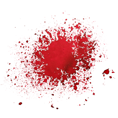 Red  ink splatter isolated over the white background