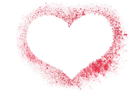 stenciled: Red stenciled heart - blank frame - raster illustration Stock Photo