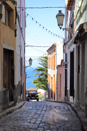 Old picturesque street in Icod de los Vinos town, Tenerife, Canary Islands