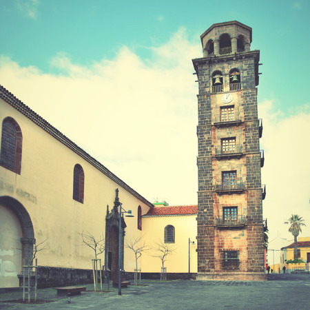 bell tower: Church de la Concepcion with leaning bell tower in San Cristobal de la Laguna, Tenerife. Retro style filtered