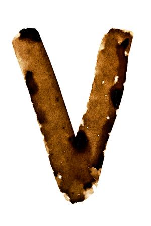 Letter V - alphabet in coffee