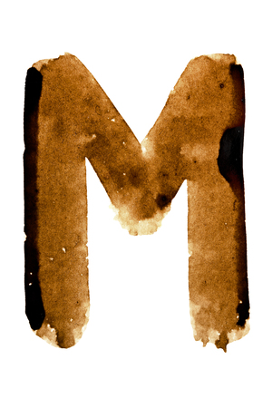 pictured: Letter M - alphabet in coffee