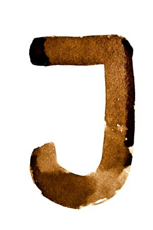 Letter J - alphabet in coffee Stock Photo