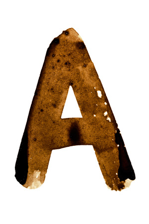 spilt: Letter A - alphabet in coffee