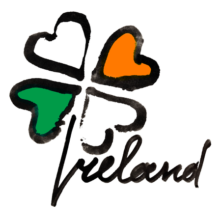 Ireland. Four leaf Irish clover with colors of the Ireland flag and lettering over white background