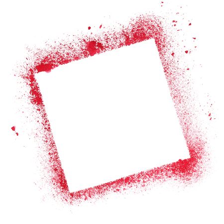 graffito: Red quare stencil frame isolated on the white background Stock Photo