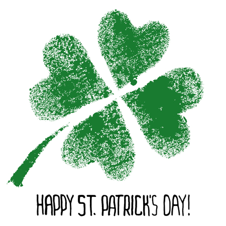 Happy St. Patricks Day - Green four-leaf Irish clover - raster illustration Stock Photo