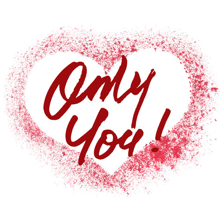stenciled: Only You - Red stenciled heart -- raster illustration Stock Photo