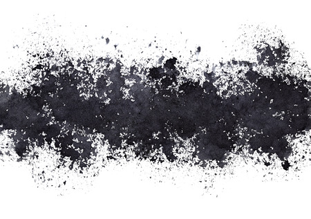 Stripe of black paint stains. Grunge abstract background. Raster illustration Stock Photo