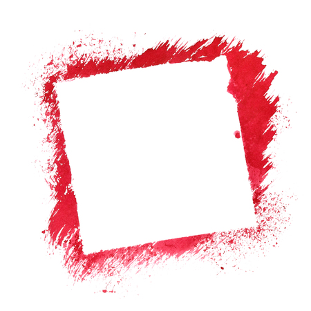 stenciled: Red square stenciled frame isolated on the white background