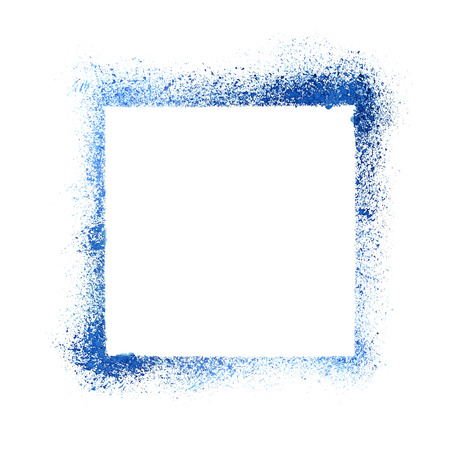 sprayed: Blue sprayed stencil frame isolated on the white background. Raster illustration