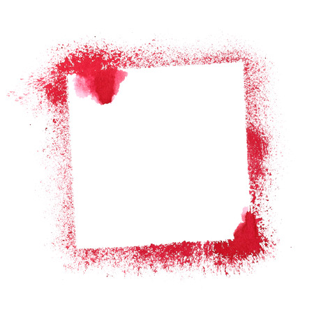 stenciled: Red stenciled frame isolated on the white background. Raster illustration