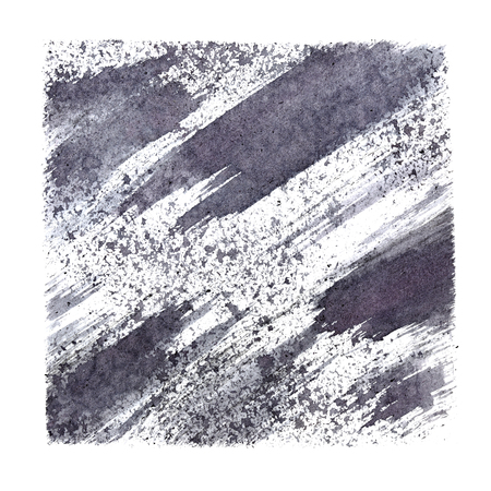 stenciled: Gray stenciled square with stains and brush strokes. Abstract background. Raster illustration