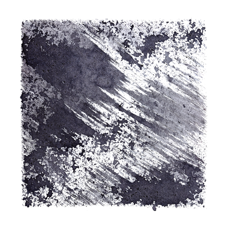 Gray stenciled square with stains and brush strokes. Abstract background. Space for your own text. Raster illustration