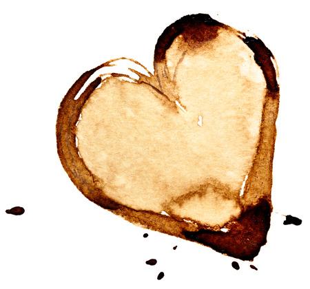 커피 심장입니다. 흰 배경에 고립 된 얼룩