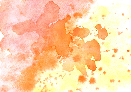 saturated color: Yellow orange watercolor abstract background with stains Stock Photo