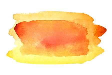Yellow orange watercolor brush strokes. Vivid element for your design