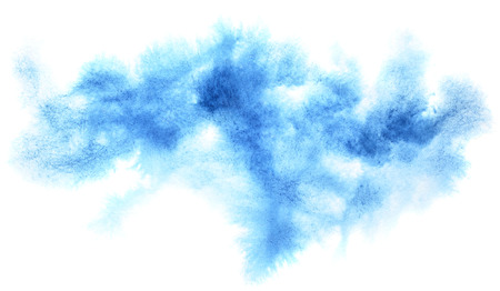 diffused: Cyan blue diffused watercolor stain. Abstract textured background. Element for your design