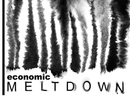 meltdown: Economic meltdown. Melted down bar-code. Economic recession concept