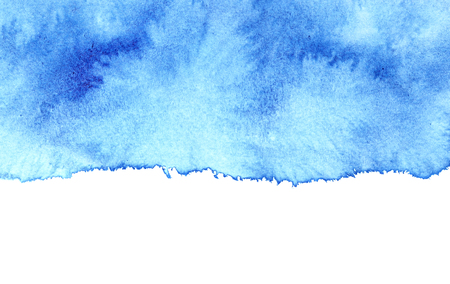 amorphous: Blue diffused watercolor stain with isolated edge. Abstract textured background. Element for your design Stock Photo