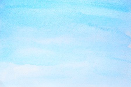 Cyan blue watercolor abstract background with paper texture. Raster illustration