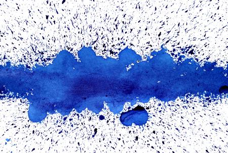 blue grunge background: Blue ink line with splashes. Grunge abstract background. Raster illustration