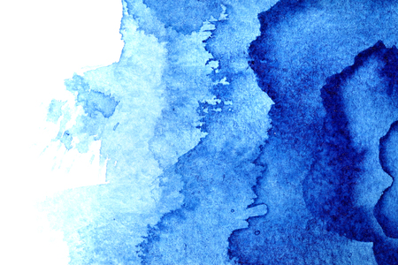 Blue watercolor abstract background with stains
