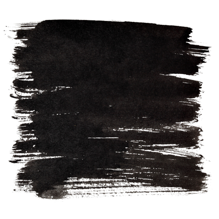 Black thick brush strokes isolated on the white background. Element for your design