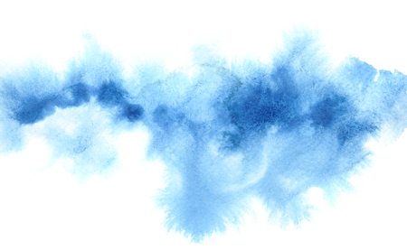 Light blue diffused watercolor stripe. Abstract background