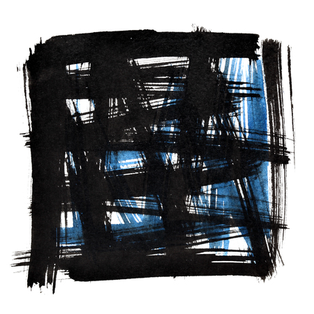 Black square frame with doodle brush strokes