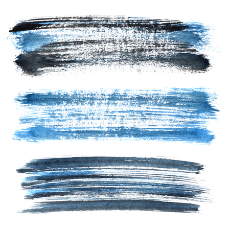dabs: Set of blue grunge brush strokes isolated on the white background. Elements for your design Stock Photo