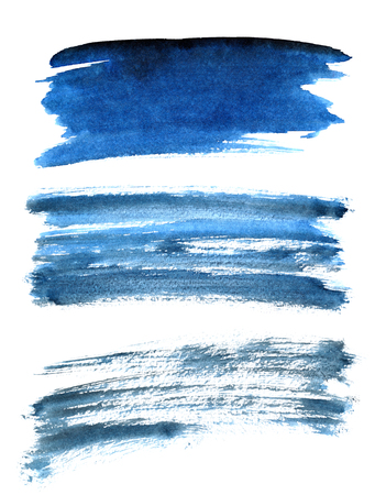Set of different blue brush strokes isolated on the white background. Elements for your design Stock Photo