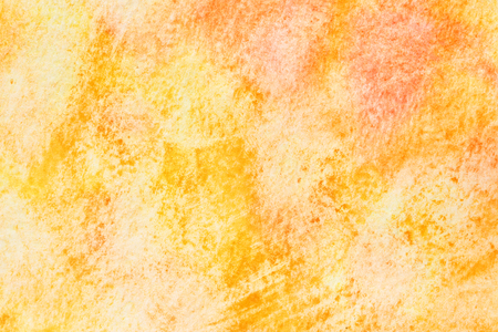 Yellow - orange abstract hand-drawn watercolor background with paper texture
