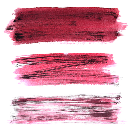 dabs: Set of dark red grunge brush strokes isolated on the white background. Elements for your design Stock Photo