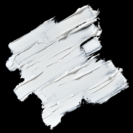 黒の背景に分離された白いオイル ペイント テクスチャ ブラシ ストローク 写真素材