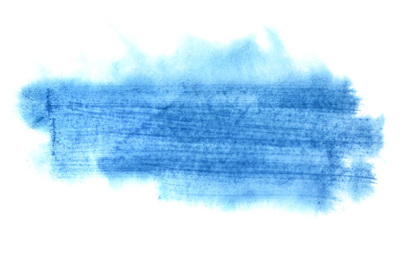 Blue watercolor brush strokes isolated on the white background