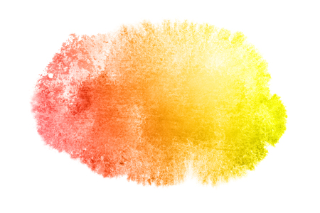 Yellow-red watercolor stain isolated on the white background. Water color element for your design