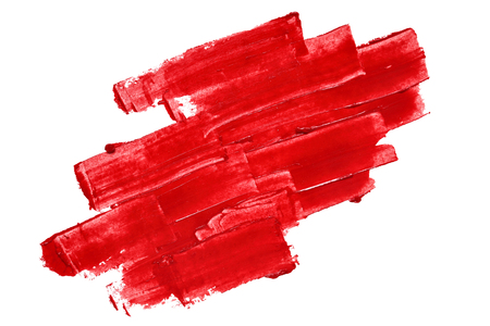 Vivid red textured brush strokes isolated on the white background Stock Photo