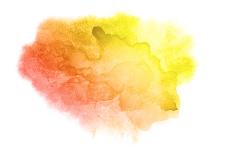 background color: Yellow-red water color stain isolated on the white background. Vivid watercolor element for your design