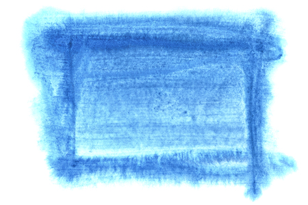 Blue watercolor frame isolated on the white background. Space for your own text