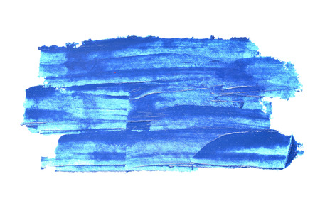 Blue textured brush strokes isolated on the white background