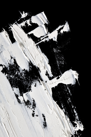 Macro of white brush strokes. Abstract hand-painted background Stock Photo